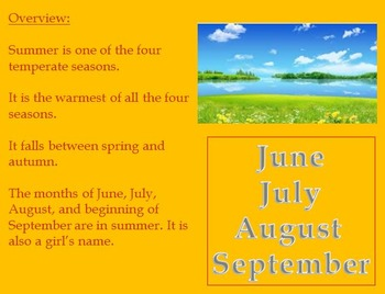 Summer Season - Power Point with review article activities