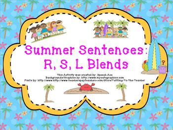 Summer Sentences: R,S,L Blends