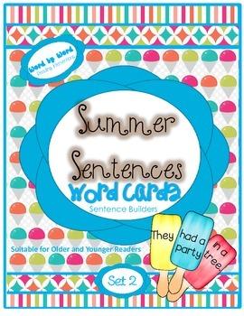 Summer Build-a-Sentence Word Cards Set 2