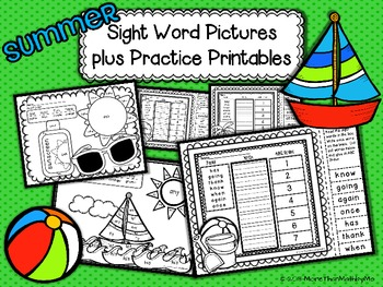 Summer Sight Word Pictures plus Practice Printables-1st gr