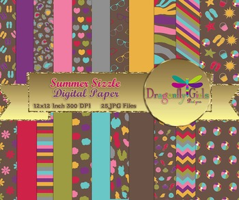 Summer Sizzle digital paper, commercial use, scrapbook papers