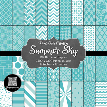 Summer Sky Digital Paper Collection 12x12 600dpi