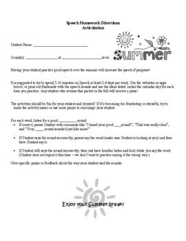 Summer Speech (Articulation) Homework - Internet & iPad