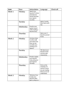 Summer Speech/Language Therapy Packet