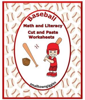 Baseball NO PREP Math & Literacy Printables for Kindergart