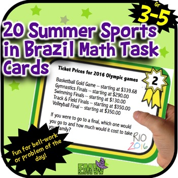 Summer Olympics 2016 Sports in Rio Brazil Math Task Cards