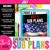 No Prep July Sub Plans for 3rd Grade & 4th Grade