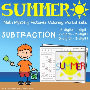 Summer Subtraction Coloring Worksheets