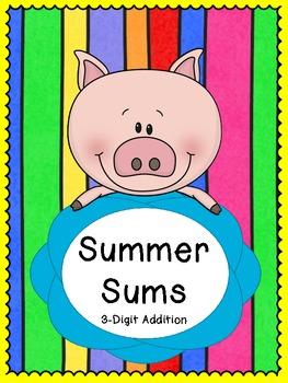Summer Sums - 3 Addends Math Center