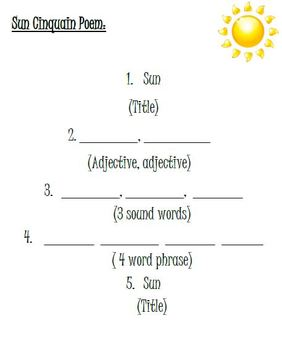 Summer & Sun Cinquain Poem Writing Activity