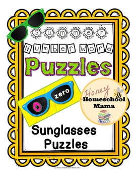 Summer Sunglasses Number Word Puzzles