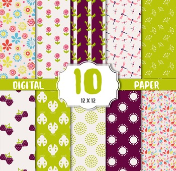 Summer Sweets Digital Papers, Birthday Party Paper, Flower
