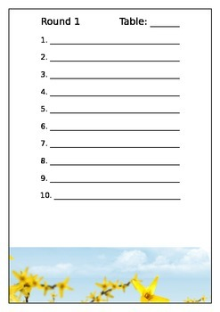 Summer Table Quiz - Answer Sheets