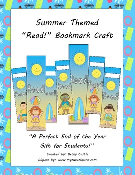 Summer Themed Bookmarks FREEBIE! 2 sets - 1 with name slot