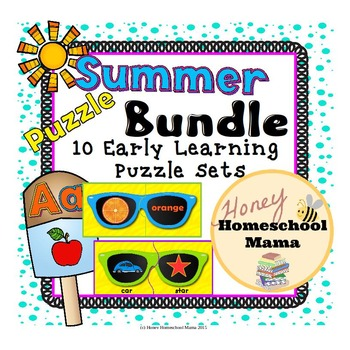 Summer Themed Early Learning Puzzle Bundle With 10 Sets of