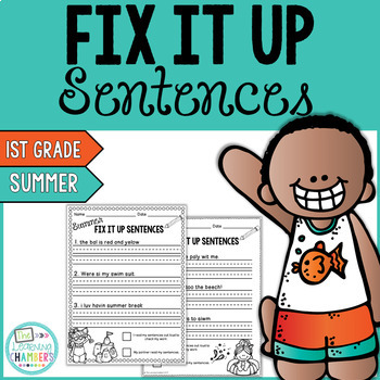 Summer Editing Sentences: First Grade, Capitalization, Pun