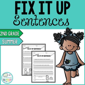 Summer Editing Sentences: Second Grade, Capitalization, Pu