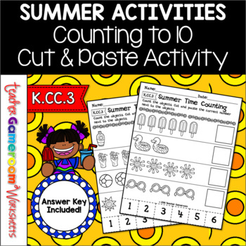 Freebie - Summer Time Counting Cut and Paste Activity