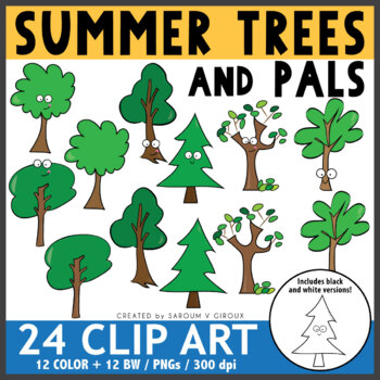 Summer Trees Clip Art + Coloring Pages