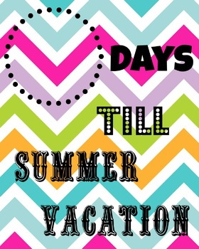 Summer Vacation Chevron Countdown Printable