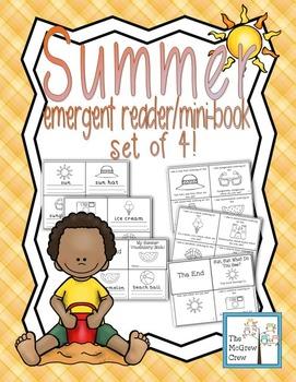Summer Vacation Emergent Reader Mini-Book Set of 4!
