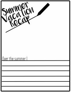 Summer Vacation Recap Writing/Language Prompt