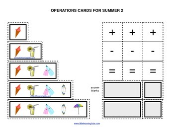 Summer Vacation operations cards prek primary math additio