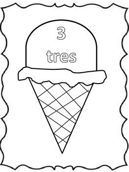 Summer Verano Spanish numbers tres ice cream helado
