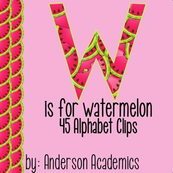 Summer Watermelon Alphabet Clip Art