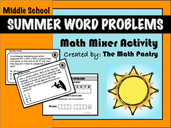 Summer Word Problems - Math Mixer Activity - Middle School
