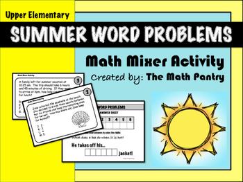 Summer Word Problems - Math Mixer Activity - Upper Elementary