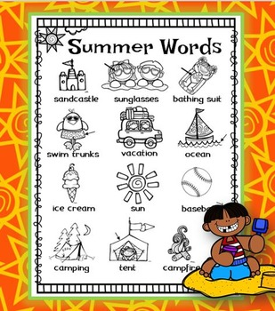 Summer Word Wall for Daily 5 Writing Portfolios / Journals