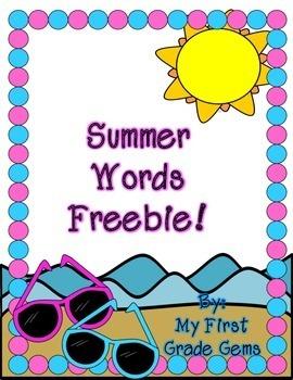 Summer Words Freebie!