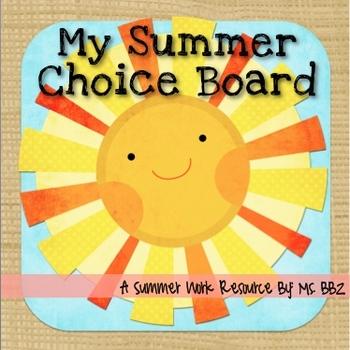 Summer Work!: Fun Common-Core Aligned Summer Choice Board