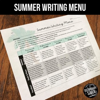 Summer Writing for Teens: Choice Menu with 40 Prompts {Jun