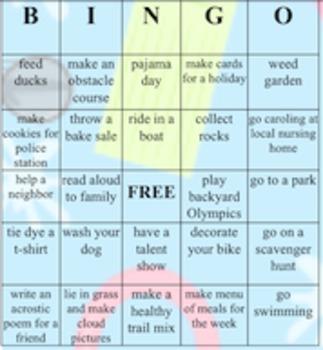 Summer activities for elementary grades- Bingo cards