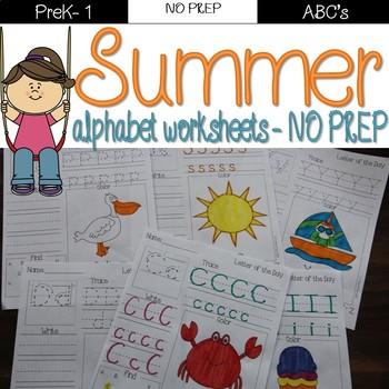 Summer alphabet printables A-Z