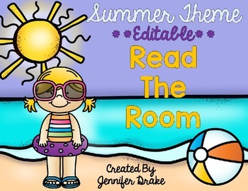 Summer and Swimming Theme Read the Room EDITABLE