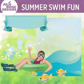 Floating Swim Girl Clip Art Set