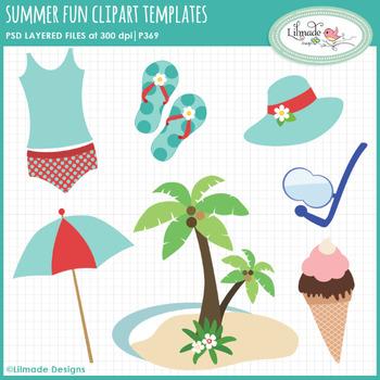 Summer fun clipart templates, PSD templates