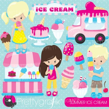 Summer ice cream clipart commercial use, graphics, digital