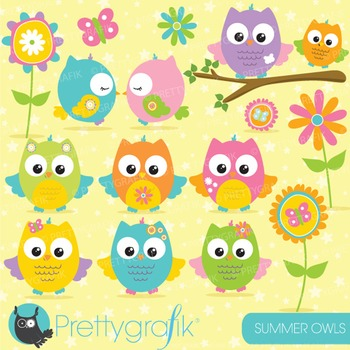 Summer owl clipart commercial use, vector graphics, digita