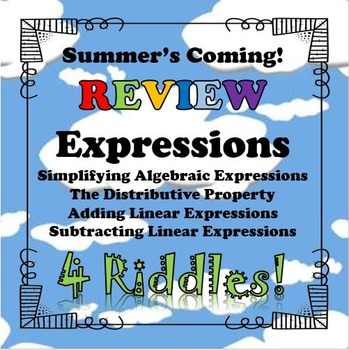 Summer's Coming! Review 4 Riddles Expressions BUNDLE...Mat