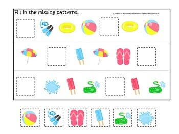 Summer season themed Missing Pattern child care learning a