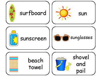 Summer themed printable Picture Word Flash Cards. Preschoo