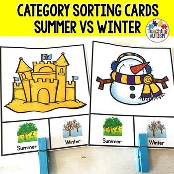 Summer v Winter Sorting Categories Task Cards