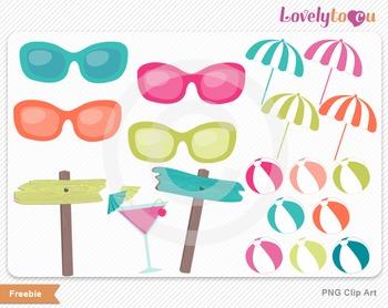 Summer vacation clip art pack digital PNG graphics