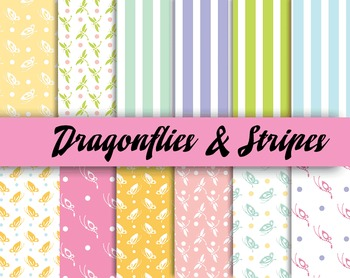 Summertime Dragonfly Patterns - 300 DPI - 12 x 12 in. - Ve