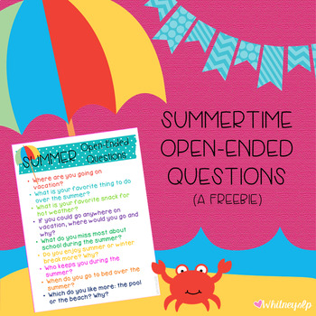 Summertime Open-Ended Questions Freebie