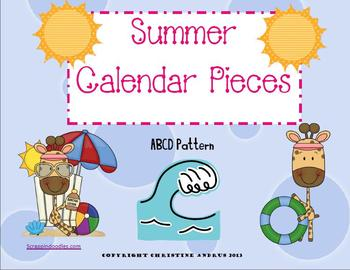 Summertime Themed Calendar Numbers (calendar pieces) ABCD Pattern